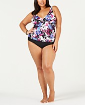 c1a600c141 Island Escape Plus Size Printed Tankini Top & High-Waist Bottoms, Created  for Macy's