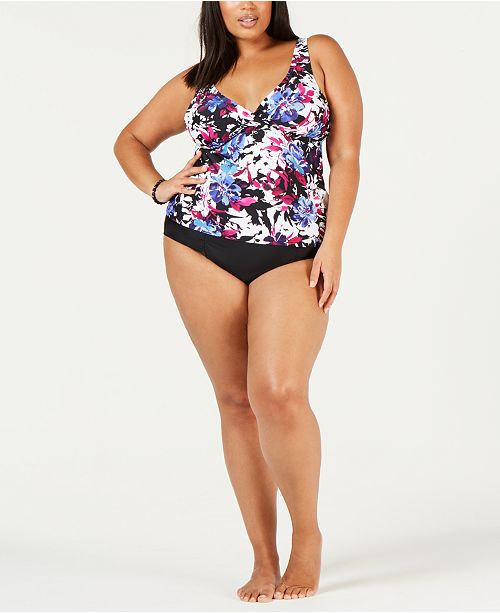 baf4642d39a27 Island Escape Plus Size Printed Tankini Top   Bikini Bottoms ...