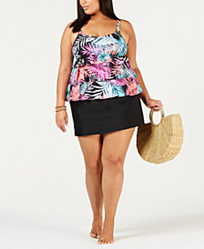 Island Escape Plus Size Tankini Top & Swim Skirt, Created for Macy's