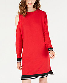 Material Girl Juniors' Cold-Shoulder Sweatshirt Dress, Created for Macy's