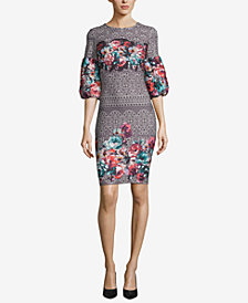 ECI Mixed-Print Bell-Sleeve Dress