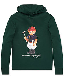 Polo Ralph Lauren Little Boys Polo Bear Hooded Long-Sleeve Cotton T-Shirt