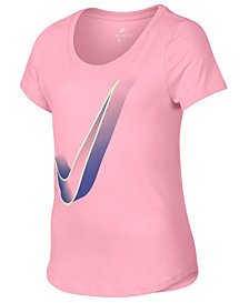 Nike Big Girls Swoosh-Print Cotton T-Shirt