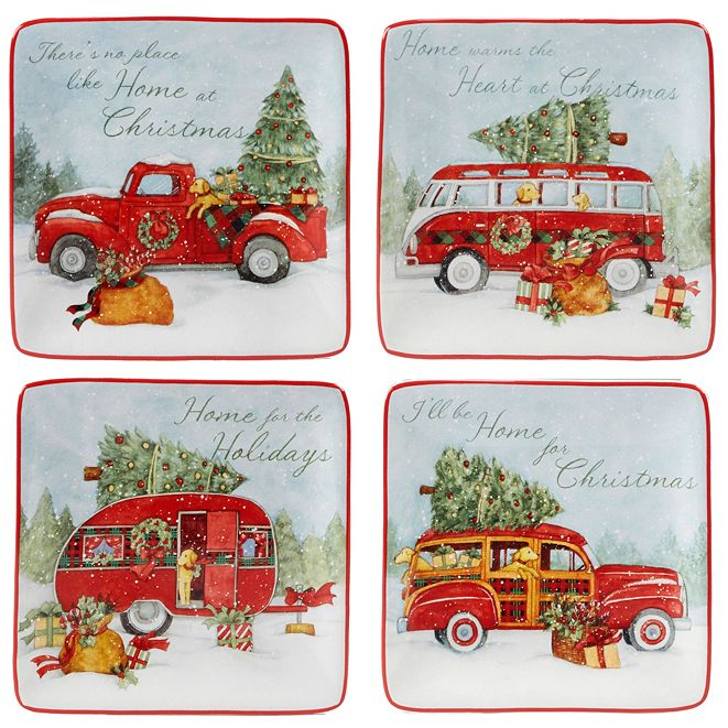 Certified International Home for Christmas 4-Pc. Canape Plate asst.