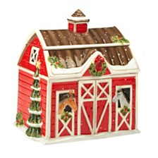 Certified International Christmas on the Farm 3-D Barn Cookie Jar
