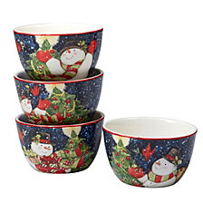 Certified International Starry Night Snowman 4-Pc. Ice Cream Bowl asst.
