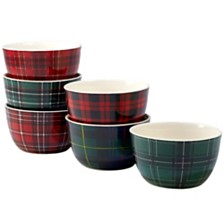 Certified International Christmas Plaid 6-Pc. Ice Cream Bowl asst.