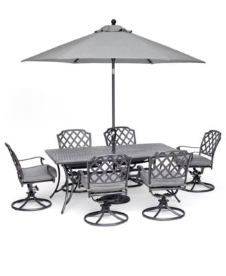 """Grove Hill II Outdoor Cast Aluminum 7-Pc. Dining Set (72"""" X 38"""" Table & 6 Swivel Chairs) With Sunbrella® Cushions, Created for Macy's"""
