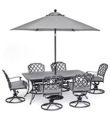"Grove Hill II Outdoor Cast Aluminum 7-Pc. Dining Set (72"" X 38"" Table & 6 Swivel Chairs) With Sunbrella® Cushions, Created for Macy's"