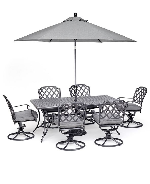 "Furniture Grove Hill II Outdoor Cast Aluminum 7-Pc. Dining Set (72"" X 38"" Table & 6 Swivel Chairs) With Sunbrella® Cushions, Created for Macy's"