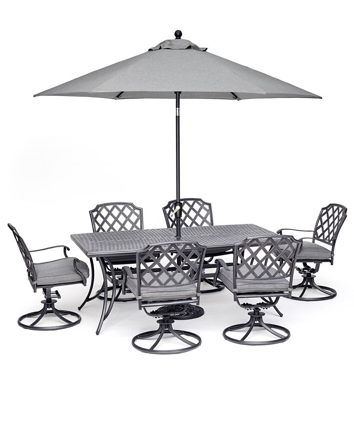 """Furniture - Grove Hill II Outdoor Aluminum 7-Pc. Dining Set (72"""" X 38"""" Table & 6 Swivel Chairs) With Sunbrella® Cushions"""