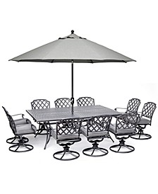 "Grove Hill II Outdoor Cast Aluminum 11-Pc. Dining Set (84"" X 60"" Table & 10 Swivel Chairs) With Sunbrella® Cushions, Created for Macy's"