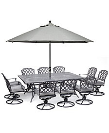 """Grove Hill II Outdoor Cast Aluminum 11-Pc. Dining Set (84"""" X 60"""" Table & 10 Swivel Chairs) With Sunbrella® Cushions, Created For Macy's"""