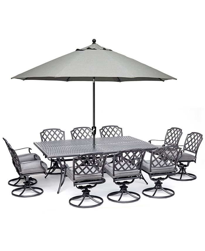 """Furniture - Grove Hill II Outdoor Aluminum 11-Pc. Dining Set (84"""" X 60"""" Table & 10 Swivel Chairs) With Sunbrella® Cushions"""