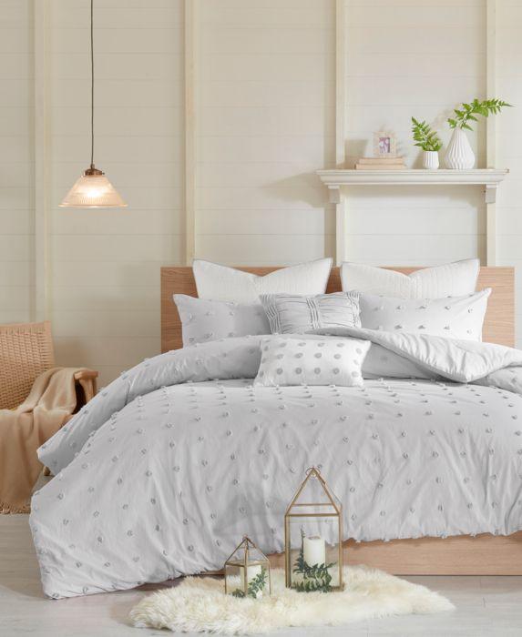 5pc Twin/Twin XL Kay Cotton Jacquard Comforter Set Gray
