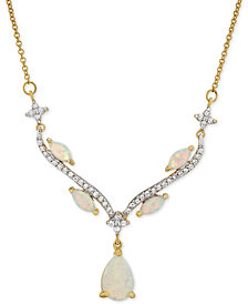 "Lab-Created Opal (5/8 ct. t.w.) & White Sapphire (9/10 ct. t.w.) 16"" Pendant Necklace in Sterling Silver & 14k Gold-Plate"