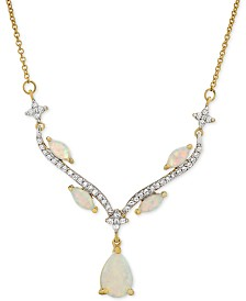 """Lab-Created Opal (5/8 ct. t.w.) & White Sapphire (9/10 ct. t.w.) 16"""" Pendant Necklace in Sterling Silver & 14k Gold-Plate"""