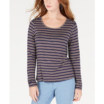 Hippie Rose Juniors' Striped Lace-Up Shoulder Top