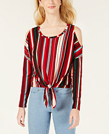 Polly & Esther Juniors' Striped Cold-Shoulder Tie-Front Top