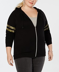 Love Tribe Plus Size Camo-Stripe Zip-Up Jacket