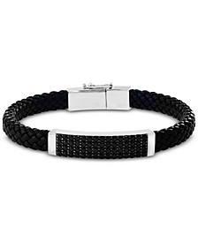 EFFY® Men's Black Spinel Braided Leather Bracelet in Sterling Silver