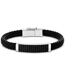 EFFY® Men's Black Spinel Braided Leather Bracelet in Sterling Silver