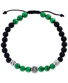EFFY® Men's Malachite (6mm) & Onyx (6 & 3mm) Nylon Cord Bolo Bracelet in Sterling Silver