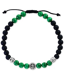 EFFY® Men's Malachite (6mm) & Onyx (6 & 3mm) Nylon Cord Bolo Bracelet in Sterling Silver