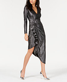 GUESS Riviera Metallic Faux-Wrap Dress