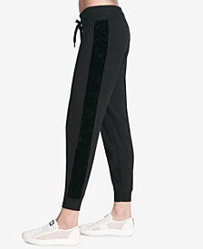 DKNY Sport Velvet-Stripe Joggers, Created for Macy's