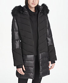 DKNY Sport Faux-Fur Hood Long Puffer Jacket, Created for Macy's