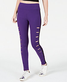 Material Girl Active Juniors' Ripped Athletic Leggings, Created for Macy's