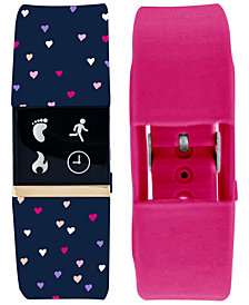 iFitness Women's Pulse Navy Print & Pink Silicone Activity Tracker Smart Watch 18x20mm