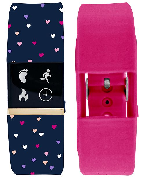 iTouch iFitness Women's Pulse Navy Print & Pink Silicone Activity Tracker Smart Watch 18x20mm