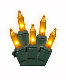 Vickerman 100 Gold Mini-Light On Green Wire, 46' Christmas Light Strand