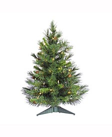 2 ft Cheyenne Pine Artificial Christmas Tree With 50 Clear Lights