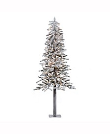 7 ft Flocked Alpine Artificial Christmas Tree With 300 Clear Lights