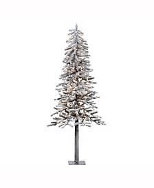 Vickerman 7 ft Flocked Alpine Artificial Christmas Tree With 300 Clear Lights