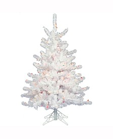 2 ft Crystal White Spruce Artificial Christmas Tree With 50 Multi-Colored Lights