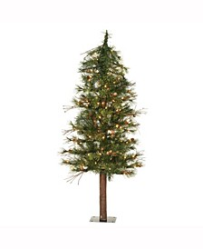 4 ft Mixed Country Alpine Artificial Christmas Tree With 100 Clear Lights