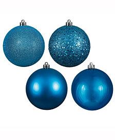"Vickerman 2.75"" Turquoise 4-Finish Ball Christmas Ornament, 20 Per Box"