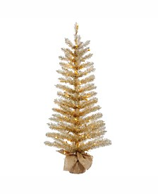 Vickerman 60 inch Champagne Tinsel Artificial Christmas Tree With 150 Clear Lights