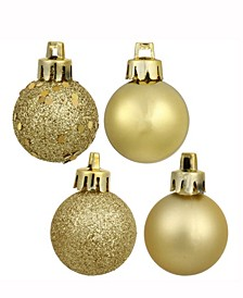"1.6"" Gold 4-Finish Ball Christmas Ornament, 96 Per Box"