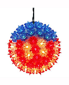 "Vickerman 7.5"" Starlight Sphere Christmas Ornament With 100 Red-White-Blue Wide Angle Led Lights"