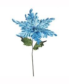 "Vickerman 15"" Sky Blue Velvet Poinsettia Artificial Christmas Pick, 3 Per Bag"