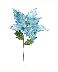 "Vickerman 26"" Sea Blue Velvet Poinsettia Artificial Christmas Pick, 3 Per Bag"