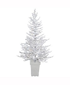 5 ft Potted Flocked Winter Twig Artificial Christmas Tree