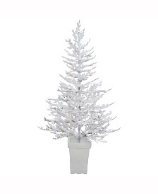 Vickerman 5 ft Potted Flocked Winter Twig Artificial Christmas Tree