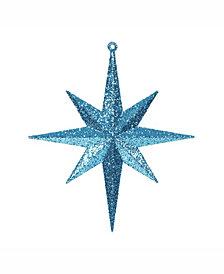 "Vickerman 8"" Turquoise Iridescent Glitter Bethlehem Star Christmas Ornament, 4 Per Box"