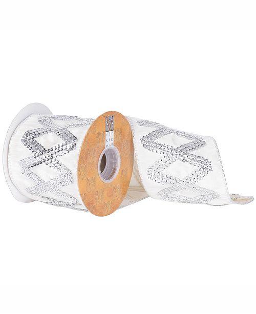 "Vickerman 4"" White Dupion With Silver Sequin Diamond Christmas Ribbon"